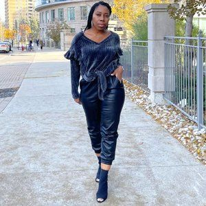 NWT Faux Leather Joggers - Black